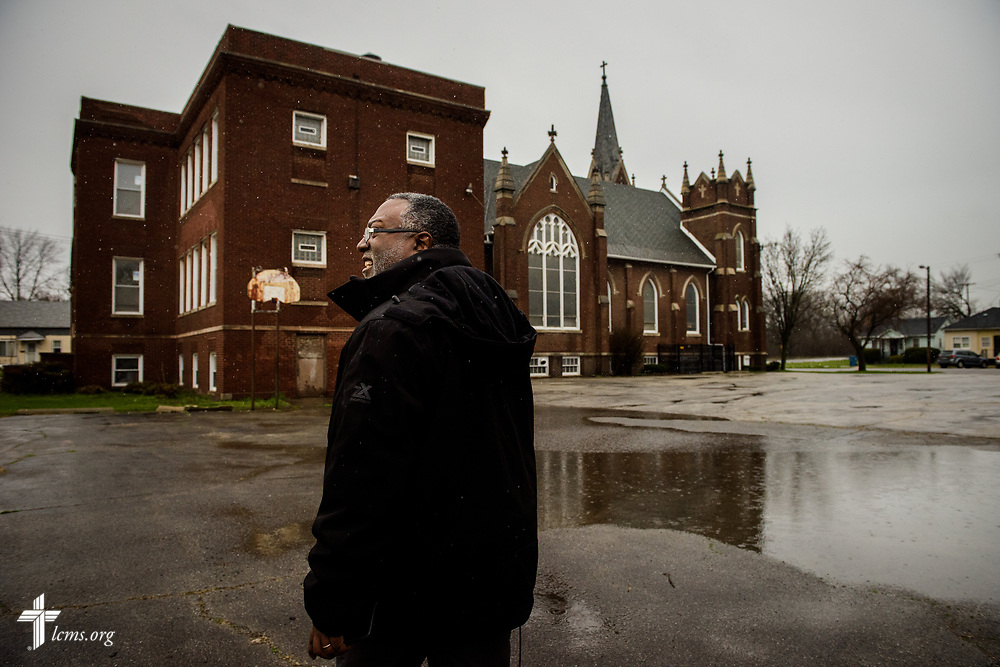 The Rev. Delwyn Campbell, national missionary to Gary, Ind., walks past his parish, St. John's Lutheran Church, as he tours the surrounding neighborhood on Wednesday, April 5, 2017, in Gary. LCMS Communications/Erik M. Lunsford