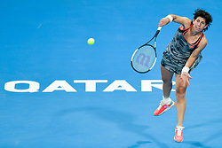 DOHA, Feb. 14, 2019  Carla Suarez Navarro of Spain serves during the women's singles second round match between Kiki Bertens of the Netherlands and Carla Suarez Navarro of Spain at the 2019 WTA Qatar Open in Doha, Qatar, Feb. 13, 2019. Carla Suarez Navarro lost 1-2. (Credit Image: © Nikku/Xinhua via ZUMA Wire)