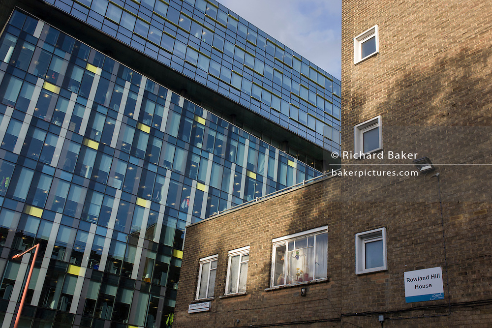 1960s architecture of Rowland Hill House in Southwark with modern plate glass windows of the London Development Agency's (LDA) Palestra House, designed by Will Alsop and Buro Happold on Blackfriars Bridge Road, SE1, London.