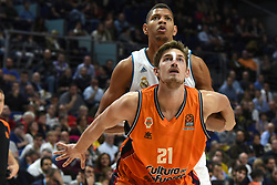 December 19, 2017 - Madrid, Madrid, Spain - Tibor Pleiss (down), #21 of Valencia and Tavares, #22 of Real Madrid, pictured during the 2017/2018 Turkish Airlines EuroLeague Regular Season Round 13 game between Real Madrid and Valencia Basket at WiZink center in Madrid. (Credit Image: © Jorge Sanz/Pacific Press via ZUMA Wire)
