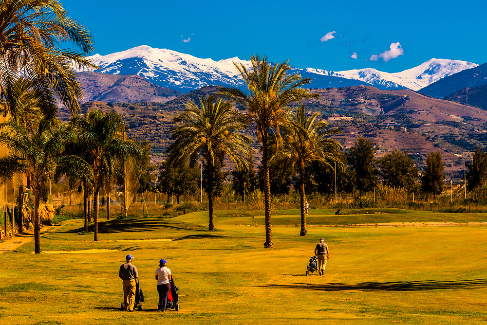 Los Moriscos Golf Club (with the snow capped Sierra Nevada Mountains in background), Motril, Costa Tropical, Granada Province, Andalusia, Spain.