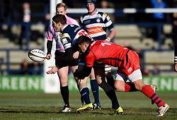 Bristol Rugby Fly-Half Gavin Henson tackles Yorkshire Carnegie Full Back Jonah Holmes  - Mandatory byline: Joe Meredith/JMP - 28/02/2016 - RUGBY - Headingley Stadium -Leeds,England - Yorkshire Carnegie v Bristol Rugby - Greene King IPA Championship
