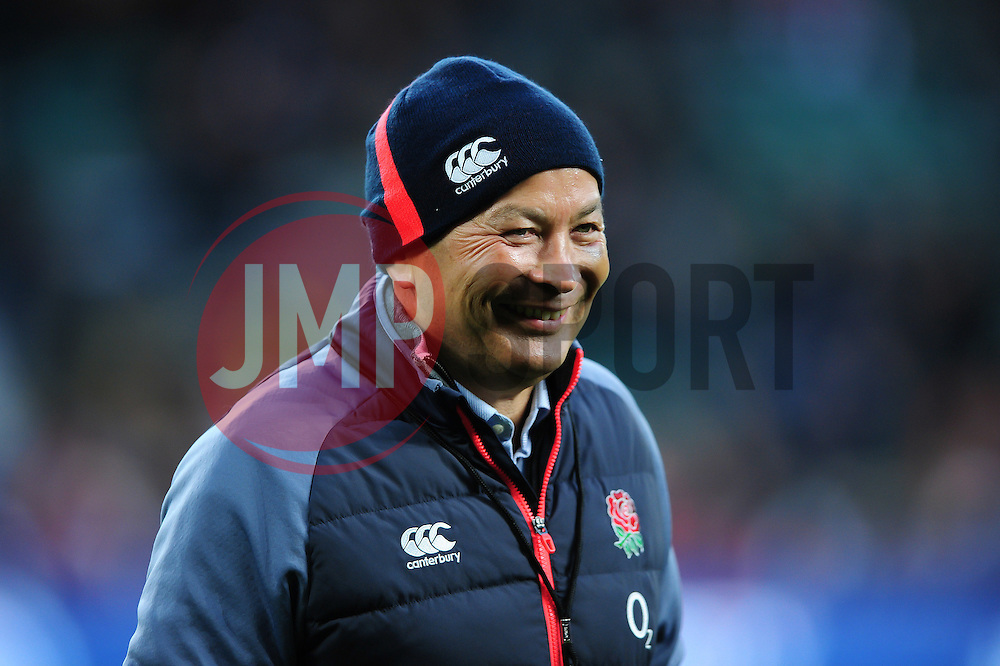 England Rugby Head Coach Eddie Jones is all smiles during the pre-match warm-up - Mandatory byline: Patrick Khachfe/JMP - 07966 386802 - 04/02/2017 - RUGBY UNION - Twickenham Stadium - London, England - England v France - RBS Six Nations Championship 2017.