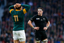 New Zealand Flanker Richie McCaw (capt) looks on towards South Africa Winger Bryan Habana - Mandatory byline: Rogan Thomson/JMP - 07966 386802 - 24/10/2015 - RUGBY UNION - Twickenham Stadium - London, England - South Africa v Wales - Rugby World Cup 2015 Semi Finals.