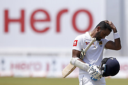 July 22, 2018 - Colombo, Sri Lanka - Sri Lankan cricketer Dimuth Karunaratne  during the 3rd day's play in the 2nd test cricket match between Sri Lanka and South Africa at SSC International Cricket ground, Colombo, Sri Lanka on Sunday  22 July 2018  (Credit Image: © Tharaka Basnayaka/NurPhoto via ZUMA Press)