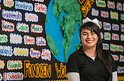 Daniela Fuentes poses for a photograph at Fondren Middle School, November 24, 2014. Fuentes, of El Salvador, received the City of Houston Citizenship Month Literary Award for a poem she wrote.