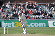 Neil Wagner releasing the ball to Harry Gurney (not shown) during the Specsavers County Champ Div 1 match between Lancashire County Cricket Club and Nottinghamshire County Cricket Club at the Emirates, Old Trafford, Manchester, United Kingdom on 17 April 2016. Photo by Simon Trafford.