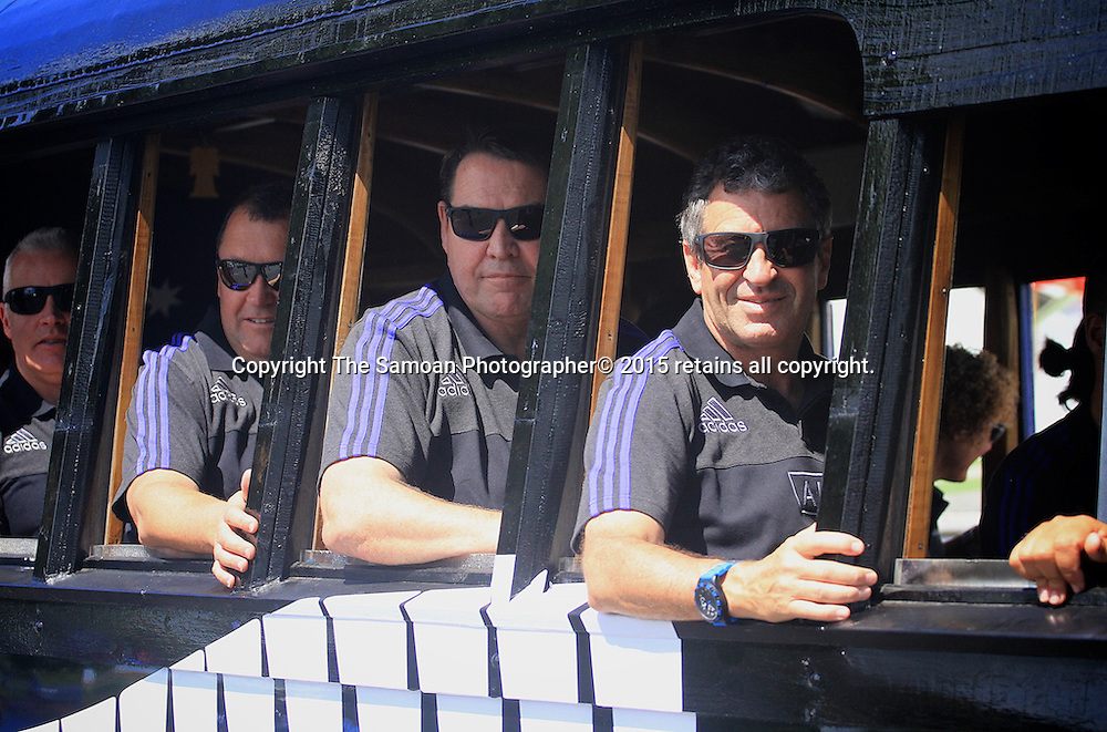 Coach Steve Hansen and assistant coach Wayne Smith during a parade for the New Zealand All Blacks ahead of their one off test match againt Samoa in Apia. 7 July 2015. Photo: Samoa Observer / photosport.nz