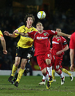London - Tuesday, March 4th, 2008: Joihn-Joe O'Toole of Watford and Lee Croft of Norwich City during the Coca Cola Champrionship match at Vicarage Road, London. (Pic by Chris Ratcliffe/Focus Images)