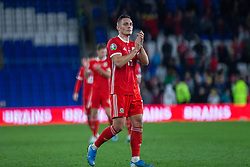 CARDIFF, WALES - Friday, September 6, 2019: Wales' Connor Roberts applauds the supporters after the UEFA Euro 2020 Qualifying Group E match between Wales and Azerbaijan at the Cardiff City Stadium. (Pic by Mark Hawkins/Propaganda)