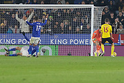 PENALTY Appeal Jamie Vardy (9) goes down in the box during the Premier League match between Leicester City and Watford at the King Power Stadium, Leicester, England on 4 December 2019.