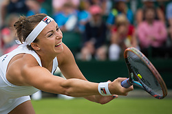 LONDON, ENGLAND - Monday, July 4, 2016:  Yaroslava Shvedova (KAZ) reaching for the ball during the Ladies' Single 4th Round match on day eight of the Wimbledon Lawn Tennis Championships at the All England Lawn Tennis and Croquet Club. (Pic by Kirsten Holst/Propaganda)