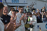 Smiles all round after the Specsavers County Champ Div 2 match between Sussex County Cricket Club and Nottinghamshire County Cricket Club at the 1st Central County Ground, Hove, United Kingdom on 28 September 2017. Photo by Simon Trafford.