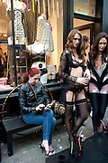 KATIE HUTZPAH;  STACEY FENTON, Dirty Pretty Things - summer party. Lingerie line hosts  party celebrating its new online shop and showcasing the latest collection. The Lingerie Collective, 8 Ganton Street, Soho. London, 15 June 2011<br /> <br />  , -DO NOT ARCHIVE-© Copyright Photograph by Dafydd Jones. 248 Clapham Rd. London SW9 0PZ. Tel 0207 820 0771. www.dafjones.com.