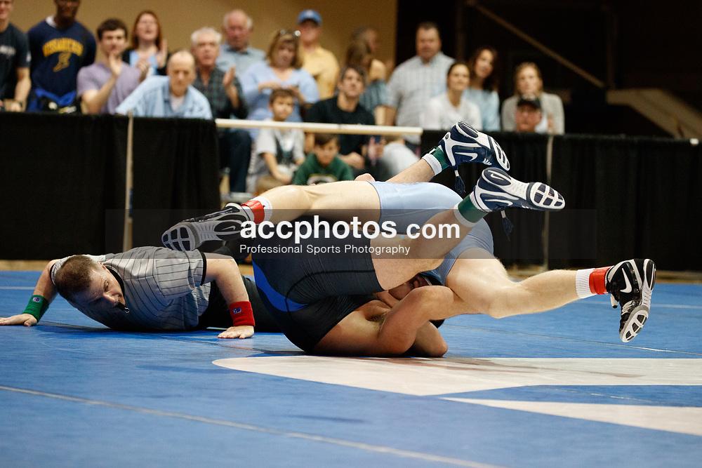 2017 February 08: Duke Blue Devils wrestling during a 25-15 loss to the the North Carolina Tar Heels at Card Gymnasium in Durham, NC.<br /> <br /> 197: Daniel Chaid (UNC) fall Luke Farinaro (Duke), 4:56