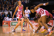 Anna Thompson passing the ball for the Tactix during the ANZ Championship Netball game between the Mainland Tactix v Adelaide Thunderbirds at Horncastle Arena in Christchurch. 20th April 2015 Photo: Joseph Johnson/www.photosport.co.nz