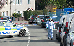 ©Licensed to London News Pictures 26/02/2020<br /> Croydon, UK. Forensics on scene. A 24 year old man has been stabbed to death in Croydon, South East London over night. Police were called to the scene at 12.15am. The man was pronounced dead at the scene no arrests have been made. A police cordon is in place with forensic officers coming and going to a nearby property. Photo credit: Grant Falvey/LNP