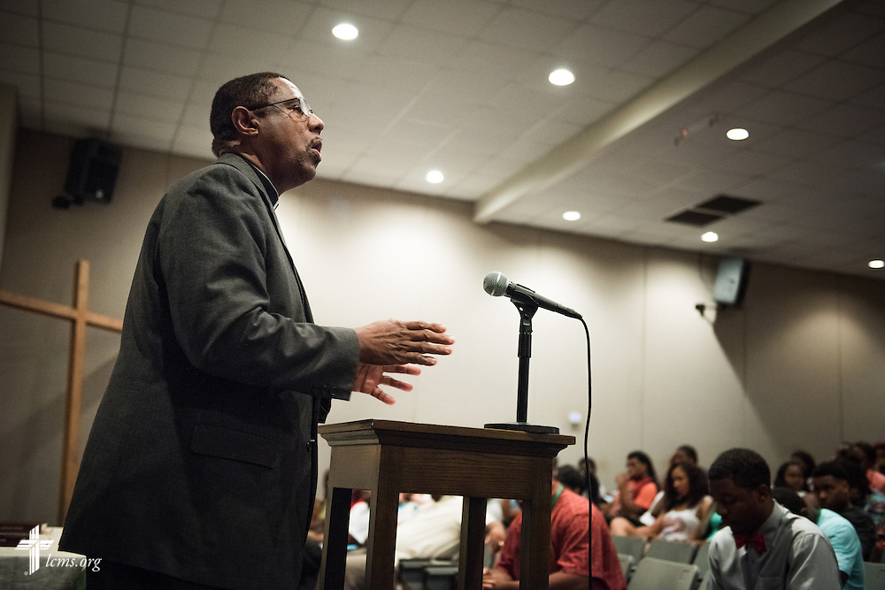 The Rev. LaVaughn Wiggins, campus chaplain, preaches during daily chapel service at Concordia College Alabama on Wednesday, August 20, 2014, in Selma, Ala.  LCMS Communications/Erik M. Lunsford