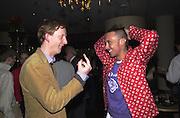 Charles Aspray and Dan Macmillan. Gumball 3000. Pre-race  dinner hosted by Armani and Maximillion. Ubon, Canary Wharf. London. 23 April 2001.