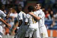 Photo: Pete Lorence.<br />Leicester City v Portsmouth. Pre Season Friendly. 04/08/2007.<br />David Nugent celebrates his equalising goal.