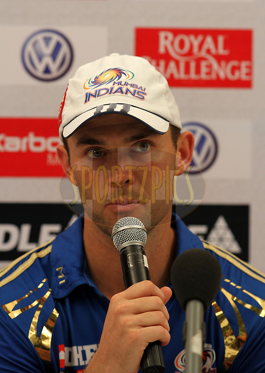 Mumbai Indian player James Franklin speaks during the presentation of match 28 of the the Indian Premier League ( IPL) 2012  between The Mumbai Indians and the Kings X1 Punjab held at the Wankhede Stadium in Mumbai on the 22nd April 2012..Photo by Sandeep Shetty/IPL/SPORTZPICS.