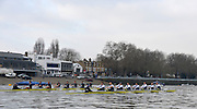 LONDON, ENGLAND - Thursday  13/12/2012 : Oxford University crew, [R] Hurricane and [L] Spitfire, race along past the Boathouses on  Putney Hard during the annual Varsity trial 8's for The BNY Melon University Boat Race over the Championship Course [Putney to Mortlake]. The River Thames, England. (Mandatory Credit/ Peter  Spurrier/Intersport Images)