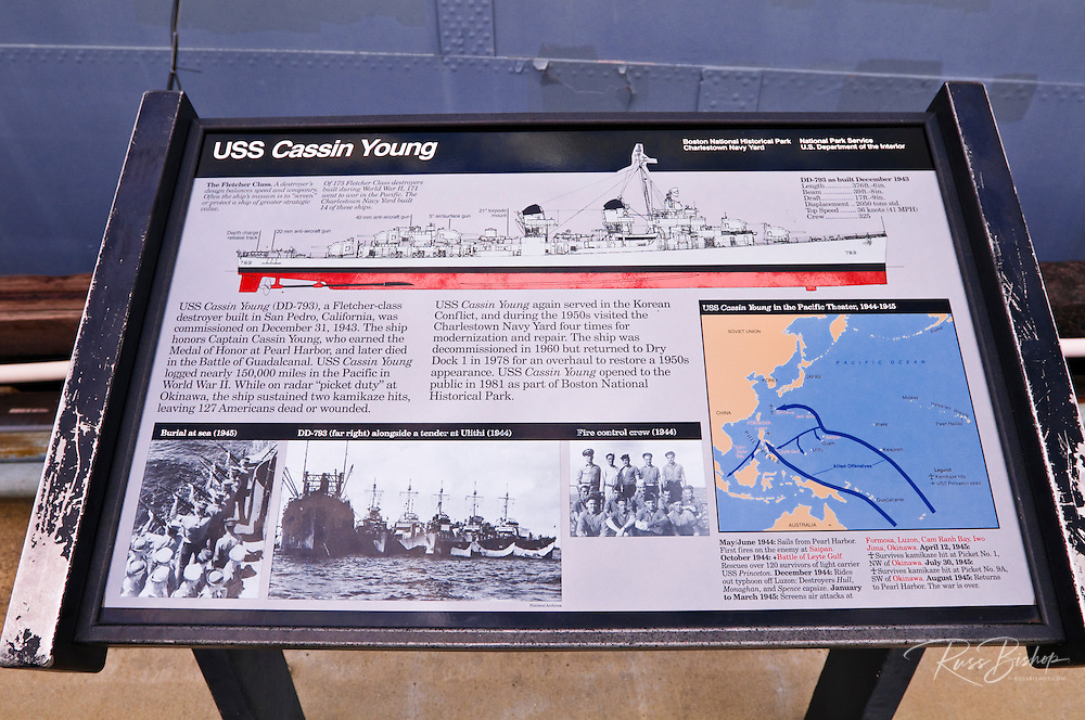 Interpretive sign at the USS Cassin Young (National Historic Landmark), Charlestown Navy Yard, Boston, Massachusetts
