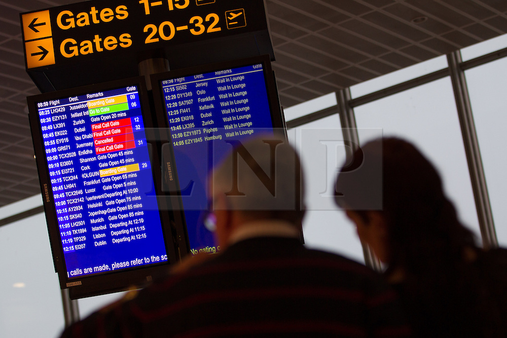 © Licensed to London News Pictures . 09/01/2013 . Manchester , UK . Departure board showing delayed and cancelled flights . Thick fog is causing flight delays and cancellations in the North of England today (9th January 2013) . Photo credit : Joel Goodman/LNP