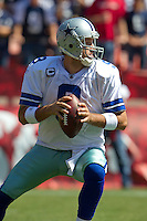 18 September 2011: Quarterback (9) Tony Romo of the Dallas Cowboys drops back to pass against the San Francisco 49ers during the first half of the Cowboys 27-24 overtime victory against the 49ers in an NFL football game at Candlestick Park in San Francisco, CA