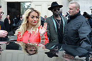 22.JANUARY.2013. PARIS<br /> <br /> THEOPHILUS LONDON AND RITA ORA LEAVING THE COUTURE SPRING-SUMMER 2013 CHANEL COLLECTION SHOW HELD AT THE GRAND PALAIS, PARIS<br /> <br /> BYLINE: EDBIMAGEARCHIVE.CO.UK<br /> <br /> *THIS IMAGE IS STRICTLY FOR UK NEWSPAPERS AND MAGAZINES ONLY*<br /> *FOR WORLD WIDE SALES AND WEB USE PLEASE CONTACT EDBIMAGEARCHIVE - 0208 954 5968*