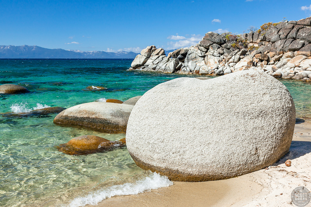 """Boulders at Secret Cove 4"" - These boulders shoreline were photographed at Secret Cove on the East Shore of Lake Tahoe."