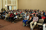 "Students fill the seats of Baker Ballroom before Daryl Davis speaks about his experiences with the Ku Klux Klan Thursday, February 21, 2013. Davis is the author of ""Klan-Destine Relationships,"" a nonfiction account of his journeys while infiltrating the minds of KKK members."