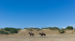 © Licensed to London News Pictures. <br /> 08/06/2014. <br /> <br /> Redcar, United Kingdom<br /> <br /> Two women ride their horses in front of sand dunes on Majuba beach in Redcar, Cleveland.<br /> <br /> Photo credit : Ian Forsyth/LNP