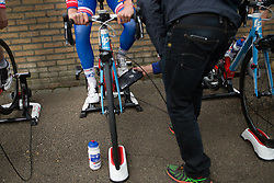 A UCI official checks the FDJ Nouvelle Aquitaine Futurscope team bikes before the Amstel Gold Race Ladies Edition - a 121.6 km road race, between  Maastricht and Valkenburg on April 16, 2017, in Limburg, Netherlands.