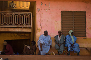 Men sitting around in central Mopti, Mali