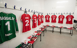 Changing room is laid out ready for Bristol City Women - Mandatory by-line: Paul Knight/JMP - 17/11/2018 - FOOTBALL - Stoke Gifford Stadium - Bristol, England - Bristol City Women v Liverpool Women - FA Women's Super League 1