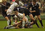 Twickenham, England, RFU Twickenham Stadium, Surrey, 10.12.2002.<br /> 2002 Varsity Rugby - Oxford vs Cambridge<br /> Ben Dormermoves  the ball to the attack.    [Mandatory Credit:Peter SPURRIER/Intersport Images]