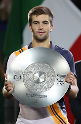October 14, 2018 - Shanghai, China - Oct 14, 2018; Shanghai, CHINA; Novak Djokovic of Serbia defeats Borna Coric of Croatia 2:0 during the Men's Singles final match on day 8 of the 2018 Rolex Shanghai Masters at Qi Zhong Tennis Centre. (Credit Image: © Osports via ZUMA Wire)