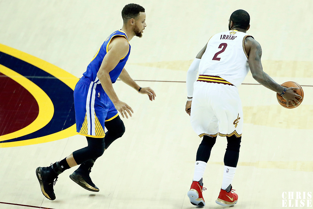 09 June 2017: Golden State Warriors guard Stephen Curry (30) defends on Cleveland Cavaliers guard Kyrie Irving (2) during the Cleveland Cavaliers 137-11 victory over the Golden State Warriors, in game 4 of the 2017 NBA Finals, at  the Quicken Loans Arena, Cleveland, Ohio, USA.