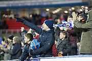 Reading fans celebrate Reading forward Nick Blackman's goal during the Sky Bet Championship match between Reading and Bristol City at the Madejski Stadium, Reading, England on 2 January 2016. Photo by Jemma Phillips.