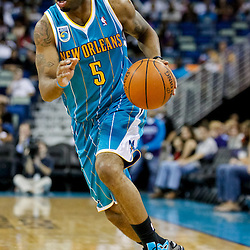 October 9, 2010; New Orleans, LA, USA; New Orleans Hornets guard Marcus Thornton (5) drives with the ball during the first quarter of a preseason game against the Memphis Grizzlies at the New Orleans Arena. Mandatory Credit: Derick E. Hingle