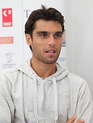 LIVERPOOL, ENGLAND - Thursday, June 20, 2013: Pablo Andujar during a press conference on Day One at the Liverpool Hope University International Tennis Tournament at Calderstones Park. (Pic by David Rawcliffe/Propaganda)