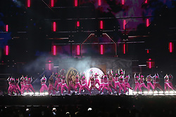 Little Mix, Jesy Nelson, Perrie Edwards, Jade Thirlwall and Leigh-Anne Pinnock, perform live at the 2019 Brit Awards at the O2 Arena in London.<br />