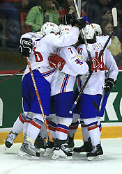 Norway team celebrates at play-off round quarterfinals ice-hockey game Norway vs Canada at IIHF WC 2008 in Halifax,  on May 14, 2008 in Metro Center, Halifax, Nova Scotia,Canada. (Photo by Vid Ponikvar / Sportal Images)
