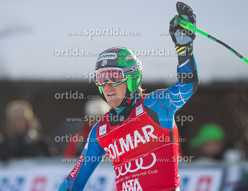 16.12.2012, Grand Risa, Alta Badia, ITA, FIS Weltcup, Ski Alpin, Riesenslalom, Herren, 2. Lauf, im Bild Ted Ligety (USA) // Ted Ligety of the USA reacts after 2nd run of the mens Giant Slalom of the FIS Ski Alpine Worldcup at the Grand Risa course, Alta Badia, Italy on 2012/12/16. EXPA Pictures © 2012, PhotoCredit: EXPA/ EJohann Groder