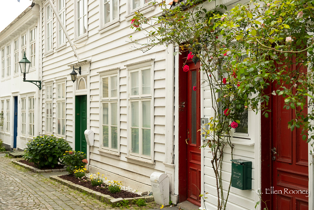 Colourful doorways on timber houses in the Nordness section of Bergen, Vestlandet, Norway, Europe