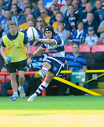 Bristol Fly-Half Matthew Morgan kick for goal - Photo mandatory by-line: Joe Meredith/JMP - Mobile: 07966 386802 - 7/09/14 - SPORT - RUGBY - Bristol - Ashton Gate - Bristol Rugby v Worcester Warriors - The Rugby Championship