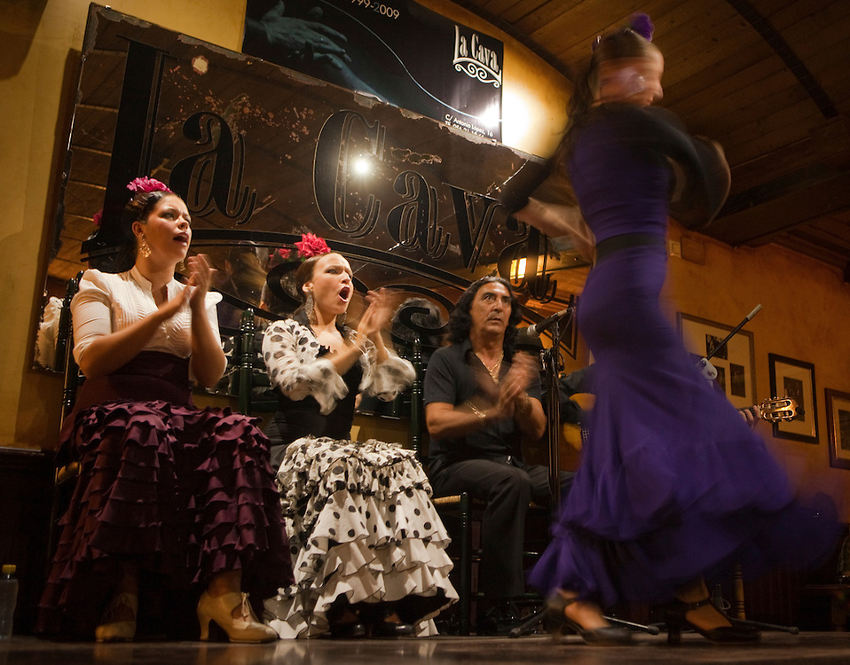 Flamenco show at La Cava, in the traditional quarter of La Viña, Cadiz, Andalucía, Spain.