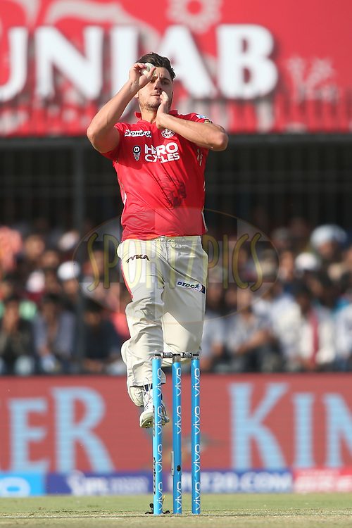 Marcus Stoinis of Kings XI Punjab sends down a delivery during match 4 of the Vivo 2017 Indian Premier League between the Kings XI Punjab and the Rising Pune Supergiant held at the Holkar Cricket Stadium in Indore, India on the 8th April 2017<br /> <br /> Photo by Shaun Roy - IPL - Sportzpics