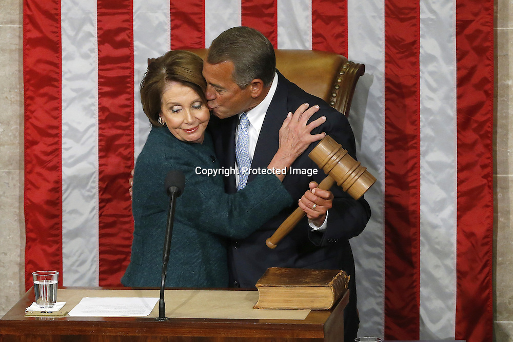 U.S. House Speaker John Boehner (R-OH) takes the gavel after being re-elected speaker on the House floor at the U.S. Capitol in Washington.